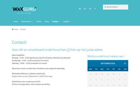 Screenshot of Contact Page waxguru.nl - Contact! • Wax Guru - captured Sept. 21, 2018