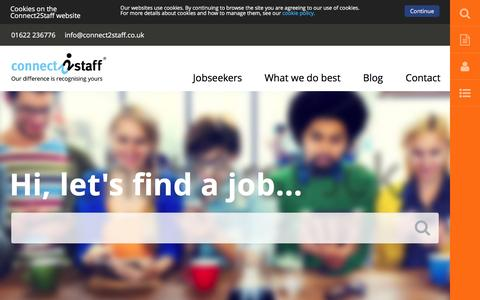 Screenshot of Home Page connect2staff.co.uk - Recruitment & Job Agency in Kent | Connect2Staff - captured July 15, 2016