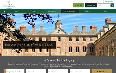 Screenshot of About Page wm.edu - About William & Mary and the Mason School of Business - captured Nov. 2, 2018