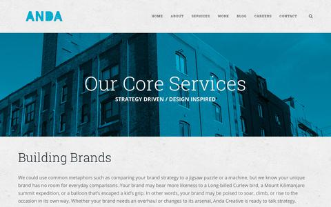 Screenshot of Services Page andacreative.com - Services - Anda Creative - captured July 30, 2018