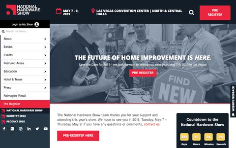 Screenshot of Home Page nationalhardwareshow.com - National Hardware Show, May 8 - 10, 2018 - Las Vegas - NationalHardwareShow - captured Sept. 21, 2018