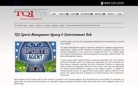Screenshot of Services Page tqisportsagency.com - TQI Sports Management Agency & Entertainment Services - captured Feb. 16, 2016