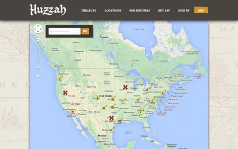 Screenshot of Locations Page gethuzzah.com - Huzzah - captured Oct. 3, 2014