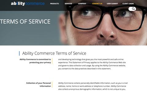Screenshot of Blog Terms Page abilitycommerce.com - Terms of Service | Ability Commerce - captured Feb. 24, 2017
