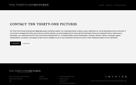 Screenshot of Support Page tenthirtyonepictures.com - Contact Ten Thirty-One Pictures | Ten Thirty-One Pictures - captured Nov. 18, 2018