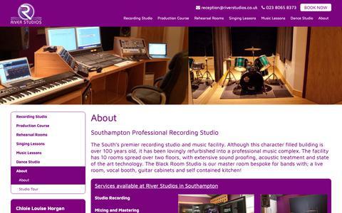 Screenshot of About Page riverstudios.co.uk - River Studios Southampton - captured Oct. 26, 2018