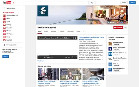 Screenshot of YouTube Page youtube.com - Exclusive Resorts  - YouTube - captured Oct. 23, 2014