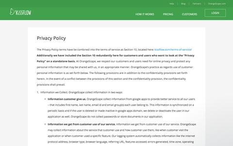 Privacy Policy - KiSSFLOW