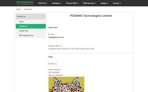 Screenshot of About Page Contact Page pcbsino.com - PCBSINO contact - captured June 30, 2018