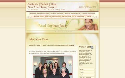Screenshot of Team Page newyouplasticsurgery.com - Goldstein | Buford | Shah - Center for Plastic and Aesthetic Surgery - Denver, CO Plastic Surgeon - captured Oct. 2, 2014