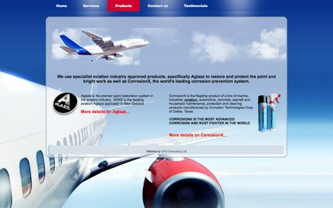 Screenshot of Products Page adnz.co.nz - Products - Aircraft Detailing New Zealand - captured Oct. 4, 2014