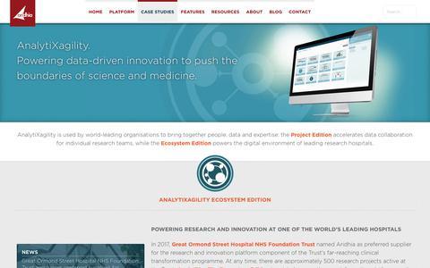 Screenshot of Case Studies Page aridhia.com - Aridhia: Case studies - captured Oct. 8, 2017