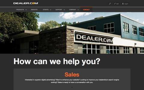 Screenshot of Contact Page dealer.com - Contact Us - Dealer.com - captured Dec. 16, 2015