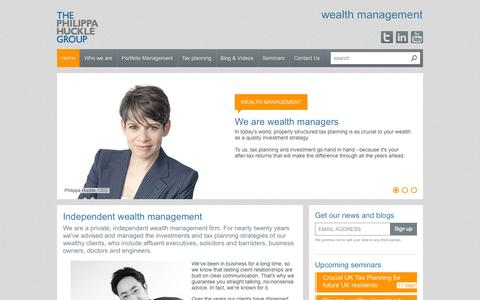 Screenshot of Home Page philippahuckle.com - Independent wealth management - captured Oct. 9, 2014