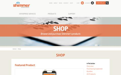 Screenshot of Products Page shimmersensing.com - Shop   Shimmer – Wearable Sensor Tech - captured Oct. 6, 2014