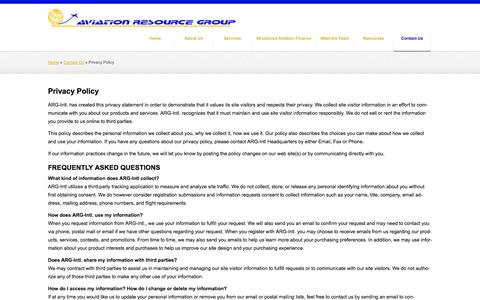 Screenshot of Privacy Page arg-intl.com - Privacy Policy | Aviation Resource Group International - captured Nov. 2, 2014