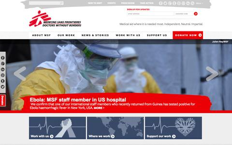 Screenshot of Menu Page msf.org.uk - MSF UK | Medical aid where it is needed most. Independent. Neutral. Impartial. - captured Oct. 27, 2014