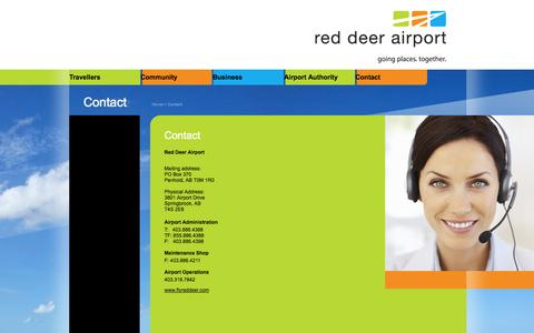 Screenshot of Contact Page flyreddeer.com - Red Deer Airport - Contact - captured Oct. 26, 2014