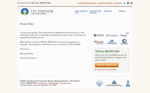 Screenshot of Privacy Page longtermcareinsurancepartner.com - Contact Us - Privacy Policy - LTC Partner - captured Oct. 1, 2014