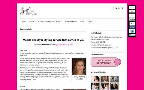 Screenshot of Testimonials Page josiesbeauty.com - Testimomials | Josies Beauty - captured Sept. 30, 2014
