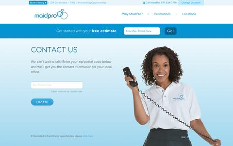 Screenshot of Contact Page maidpro.com - Contact MaidPro l Cleaning Service, House Cleaning - captured July 14, 2018