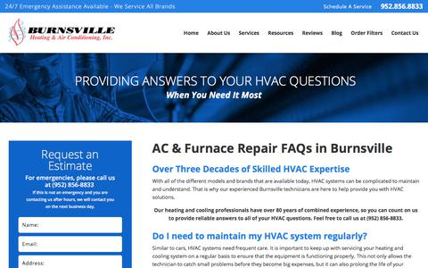 Screenshot of FAQ Page burnsvilleheating.com - Burnsville AC & Furnace Repair FAQs | Heating & Cooling in Burnsville - captured Oct. 11, 2017