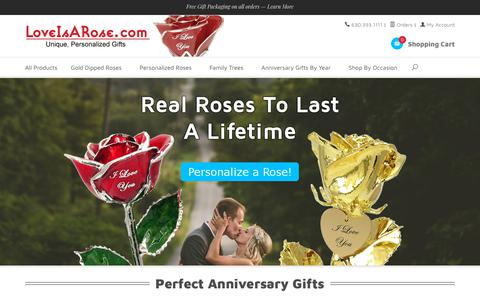 Screenshot of Home Page loveisarose.com - Unique, Personalized Gold Roses & Anniversary Gifts - captured July 23, 2018