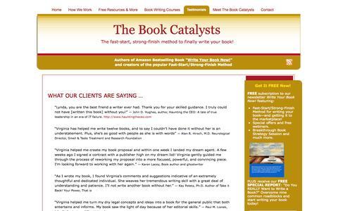 Screenshot of Testimonials Page bookcatalysts.com - The Book Catalysts  Testimonials » The Book Catalysts - captured Oct. 5, 2014