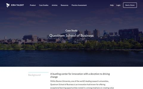 Screenshot of Case Studies Page kiratalent.com - Questrom School of Business - Customer Story | Kira Talent - Video Admissions Platform - captured Oct. 24, 2017