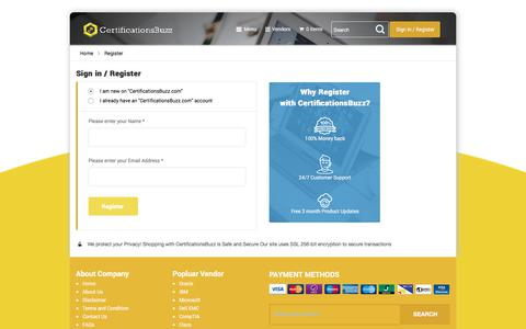 Screenshot of Login Page certificationsbuzz.com - Account Register | CertificationsBuzz - captured July 17, 2018