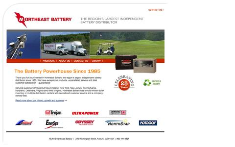 Screenshot of Home Page northeastbattery.com - Northeast Battery - The Region's Largest Independent Battery Distributor - captured Oct. 9, 2014