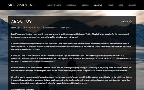 Screenshot of About Page skiverbier.com - About Us | Ski Verbier | Luxury Ski Chalets - captured Nov. 3, 2014
