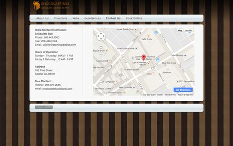 Screenshot of Contact Page webs.com - Chocolate Box - Contact Us - captured Sept. 13, 2014