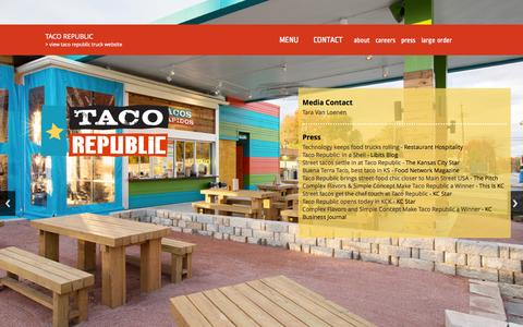 Screenshot of Press Page eattacorepublic.com - Taco Republic   Press + Media - captured Oct. 27, 2014