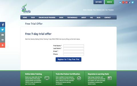Screenshot of Trial Page velocityselling.com - Velocity Selling VT - captured Nov. 5, 2014