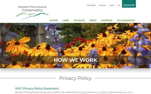 Screenshot of Privacy Page waterlandlife.org - Privacy Policy - Western Pennsylvania Conservancy - captured Oct. 18, 2018