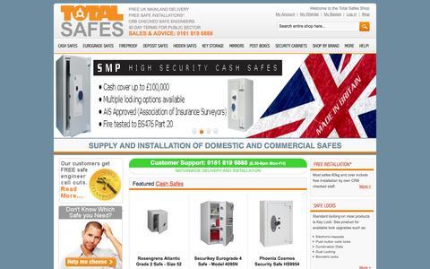 Screenshot of Home Page totalsafes.co.uk - Cash Safes | Fire Safes | Eurograde Safes | Key Safes - captured Oct. 9, 2014