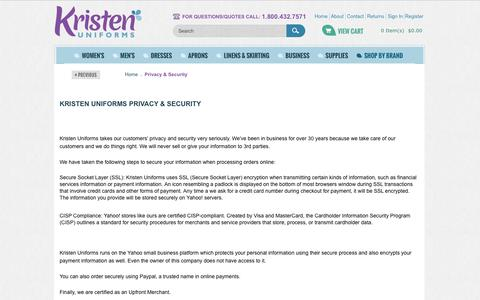 Screenshot of Privacy Page kristenuniforms.com - Privacy & Security | Kristen Uniforms - captured Sept. 3, 2016