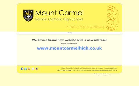 Screenshot of Home Page mountcarmelhigh.lancs.sch.uk - Mount Carmel Roman Catholic High School : - captured Oct. 7, 2014