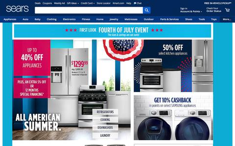 Screenshot of Home Page sears.com - Sears - Online & In-Store Shopping: Appliances, Clothing & More - captured June 24, 2018