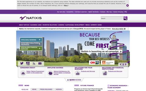 Screenshot of Menu Page natixis.com - Natixis, the international corporate, investment management and financial services bank of Groupe BPCE - captured Sept. 18, 2014