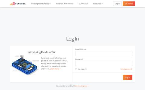Screenshot of Login Page fundrise.com - Log In | Fundrise - captured Oct. 5, 2017