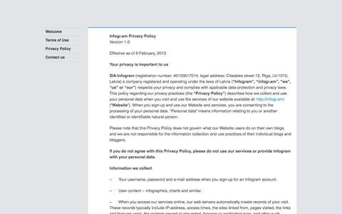 Screenshot of Privacy Page infogr.am captured Sept. 16, 2014