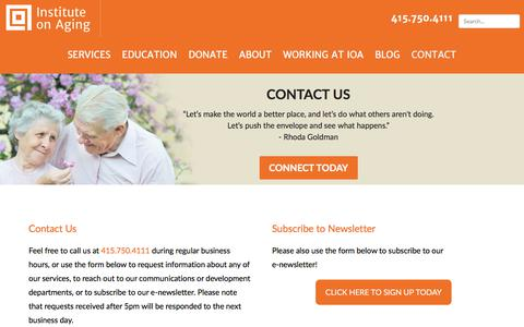 Screenshot of Contact Page ioaging.org - Contact IOA | Senior Home Care & Caregiver Resources in the Bay Area - captured Oct. 15, 2017