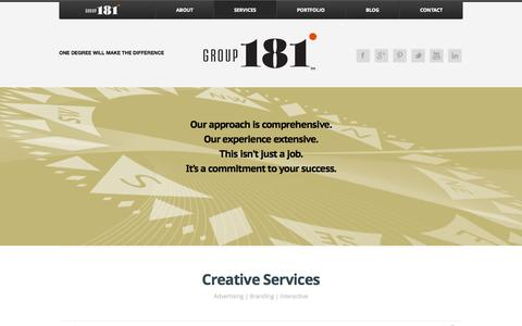 Screenshot of Services Page group181.com - Creative Services « Group181 - A Full Service Creative Advertising and Branding Agency - captured Oct. 3, 2014