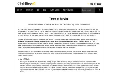Terms of Service | Goldline