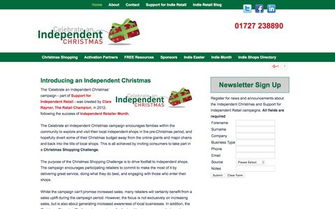 Screenshot of Home Page indiechristmas.co.uk - Celebrate an Independent Christmas - Indie Xmas Campaign - captured March 23, 2016