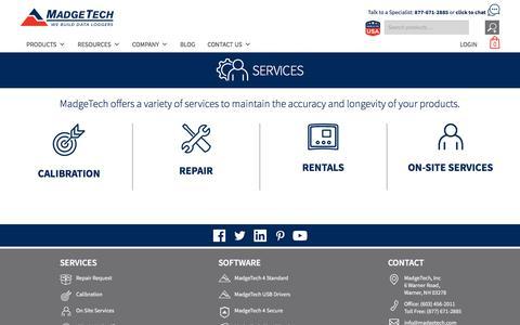 Screenshot of Services Page madgetech.com - Services | MadgeTech - captured Oct. 6, 2019
