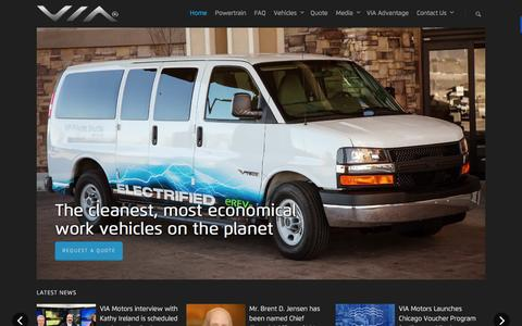 Screenshot of Home Page viamotors.com - VIA Motors Extended-range Electric Trucks, Vans & SUVs EREVs - captured Feb. 23, 2016
