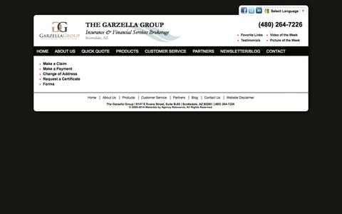 Screenshot of Support Page garzellagroup.com - Customer Service - The Garzella Group - captured Nov. 5, 2014